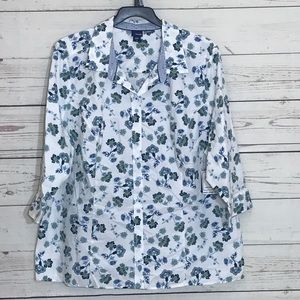 Basic Editions Floral Button Up Top